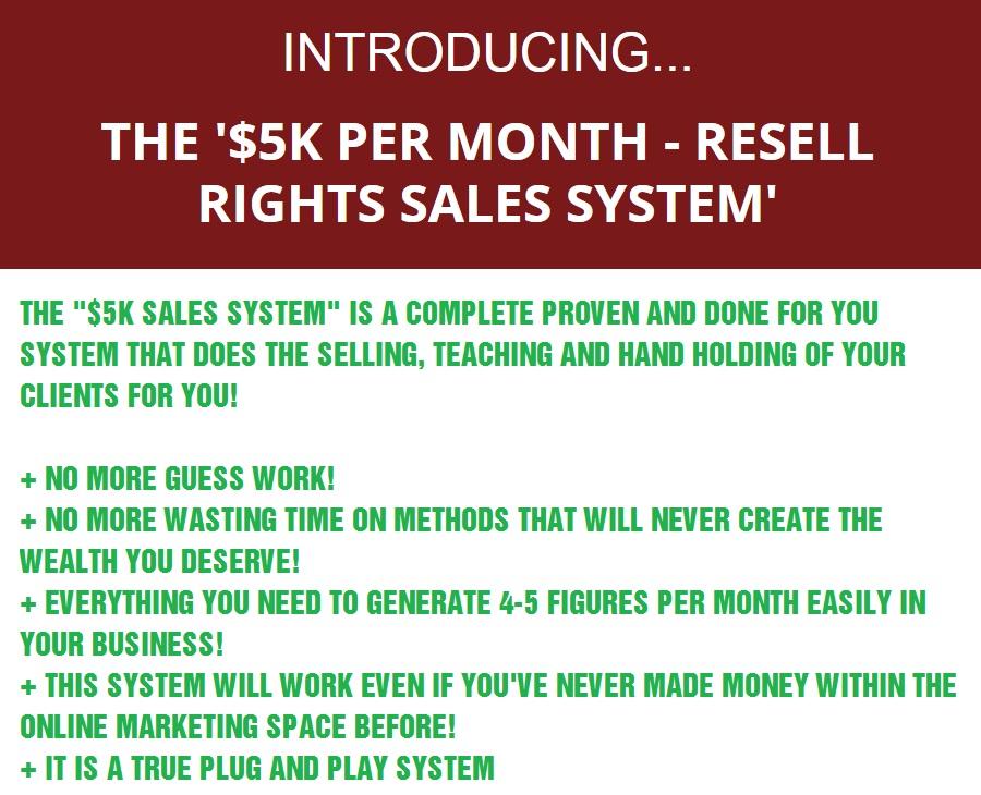 $5K Per Month sales System Formula