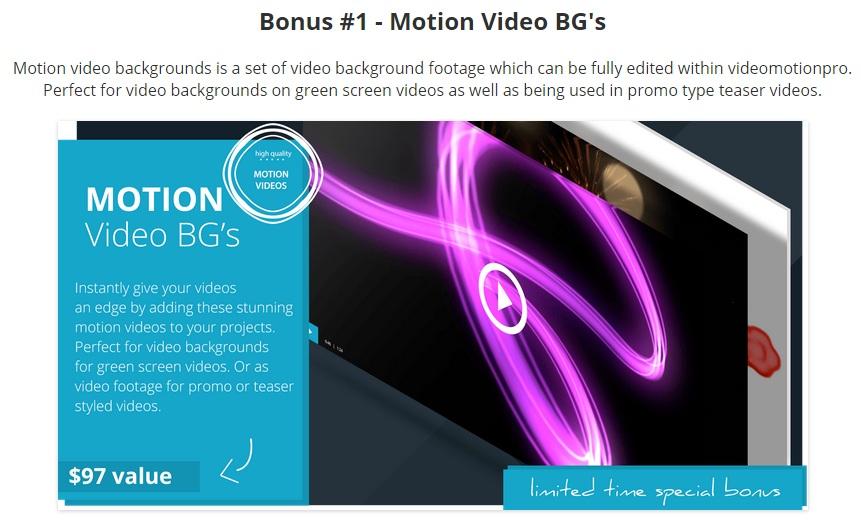 Bonus for Video Motion Pro Review