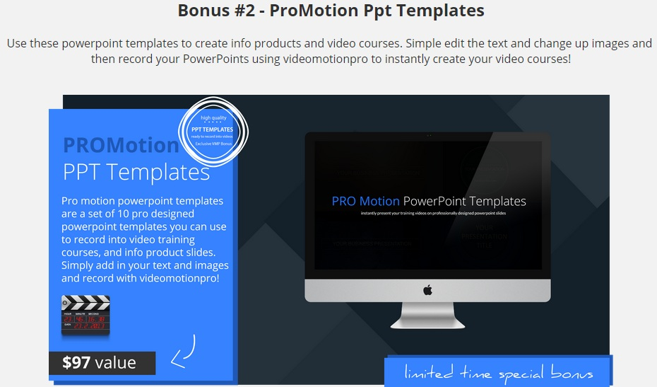 Bonus for Video Motion Pro Review