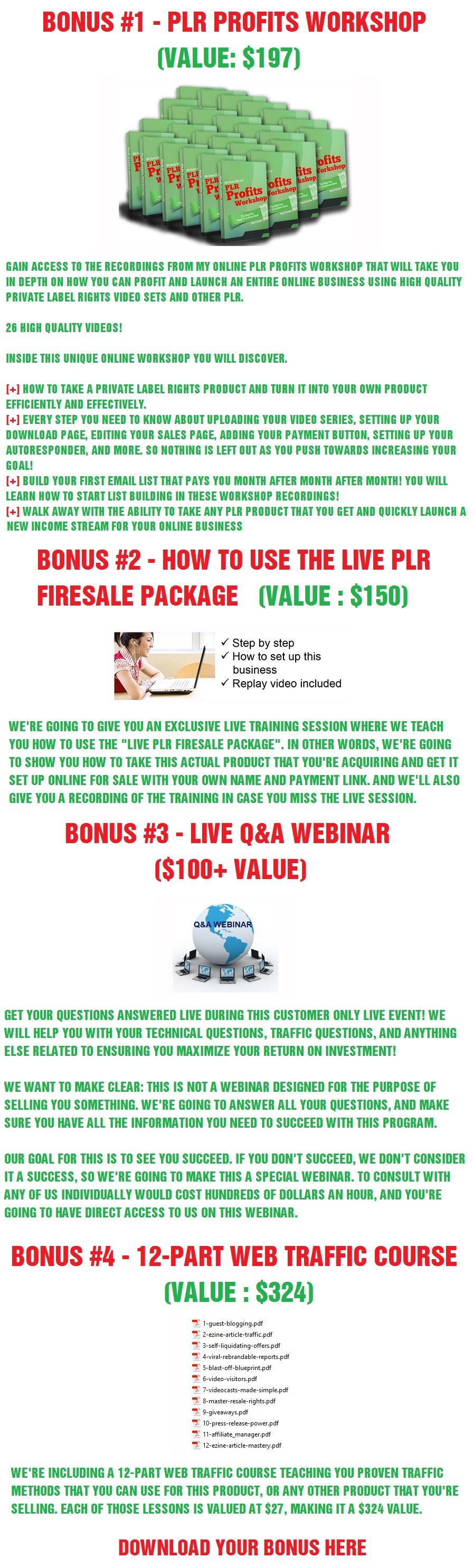 Live PLR Firesale Bonus