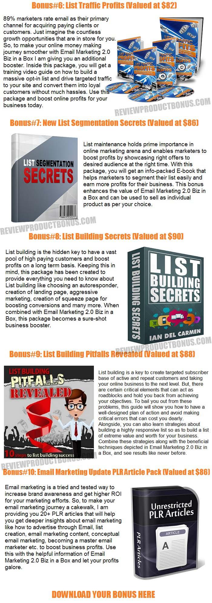Email Marketing 2.0 Biz in a Box Bonuses