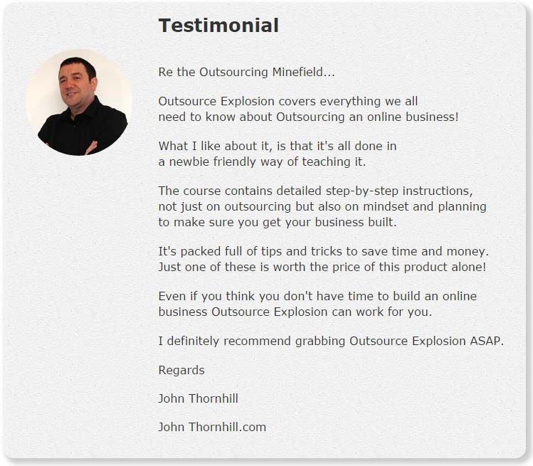 Outsource Explosion Testimonial