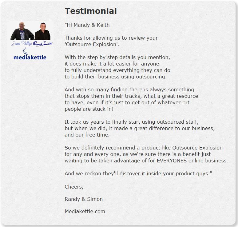 Outsource Explosion Testimonials