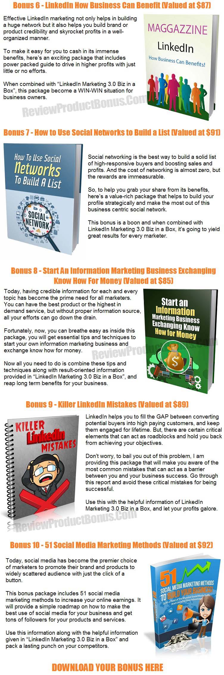 LinkedIn Marketing 3.0 Bonuses
