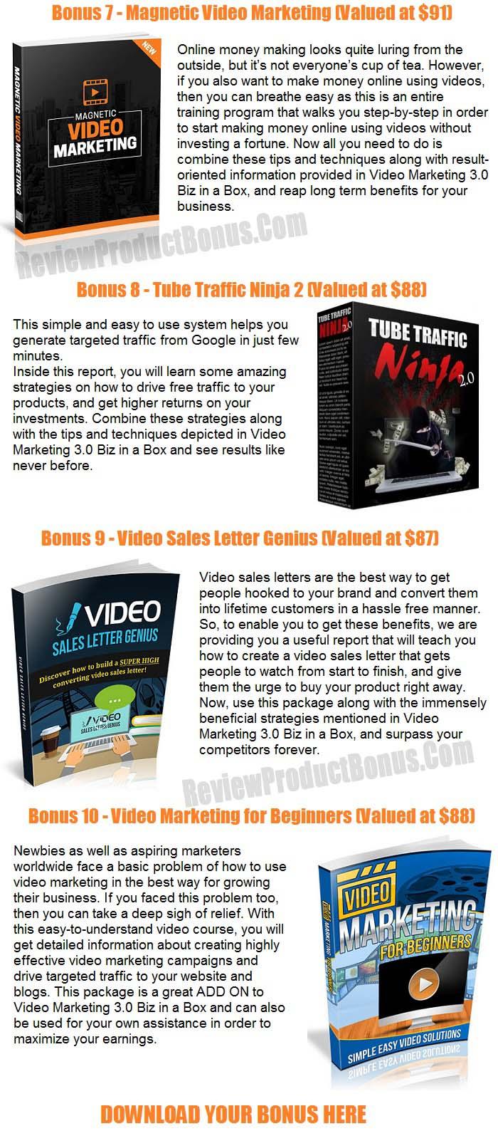 Video Marketing 3.0 Bonuses