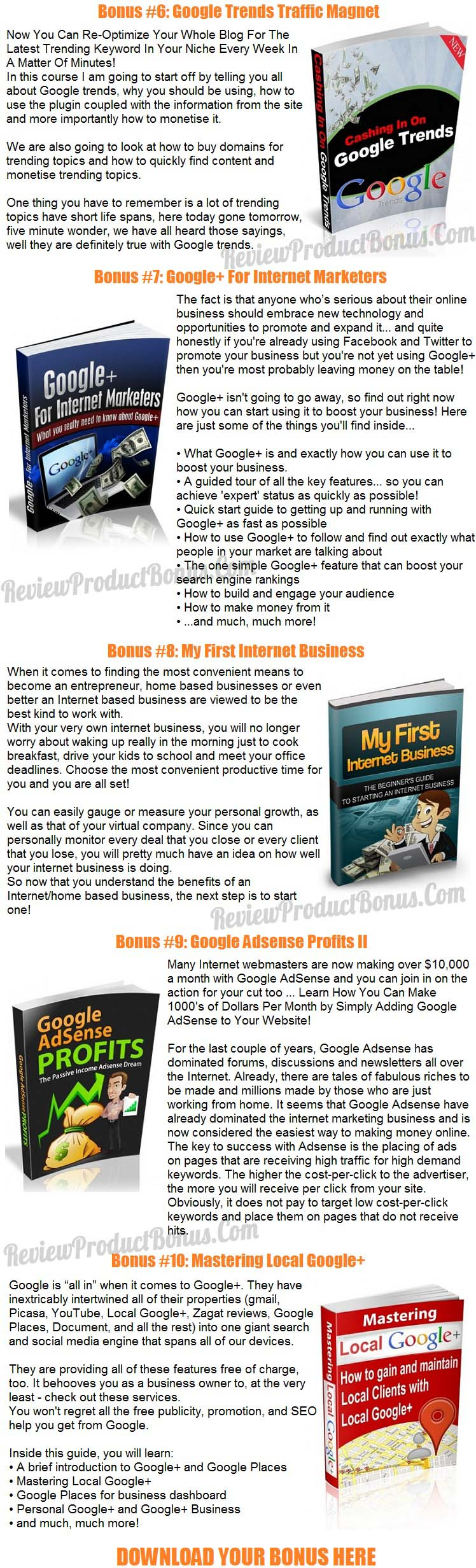 Google My Business Bonuses
