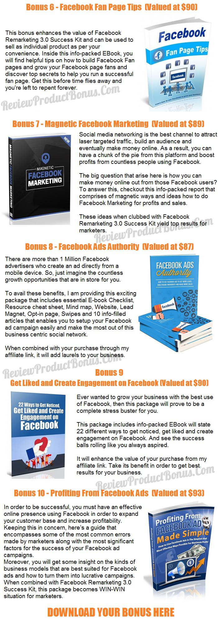Facebook Remarketing 3.0 Success Kit Bonuses