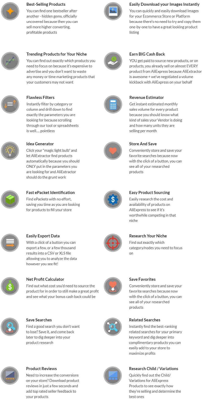 AliExtractor Features