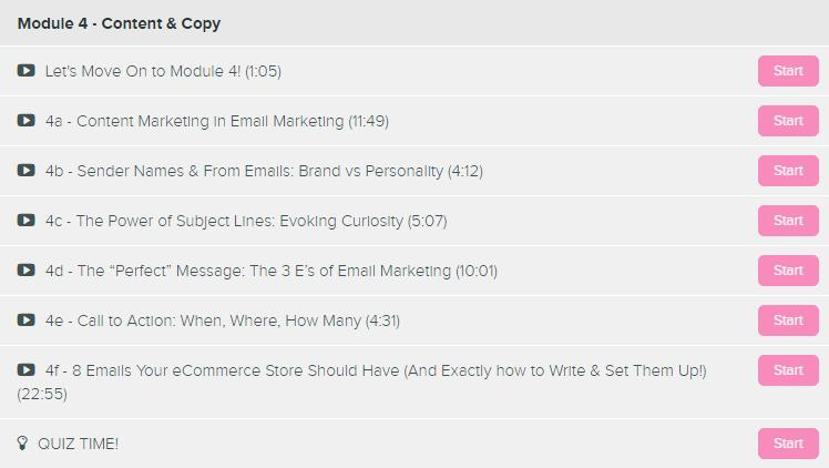 eCom Email Academy Module 4