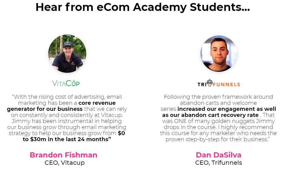 eCom Email Academy Testimonial
