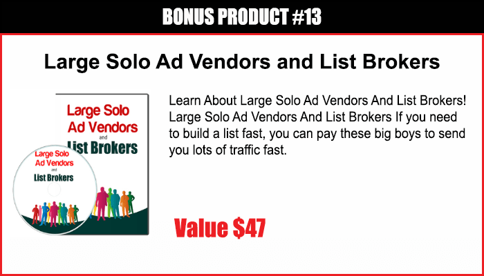 Large Solo Ad Vendors and List Brokers