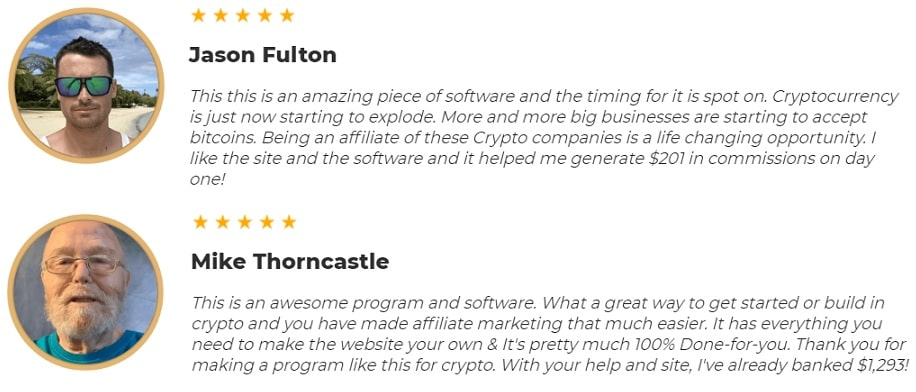 CryptoCommissions Testimonials