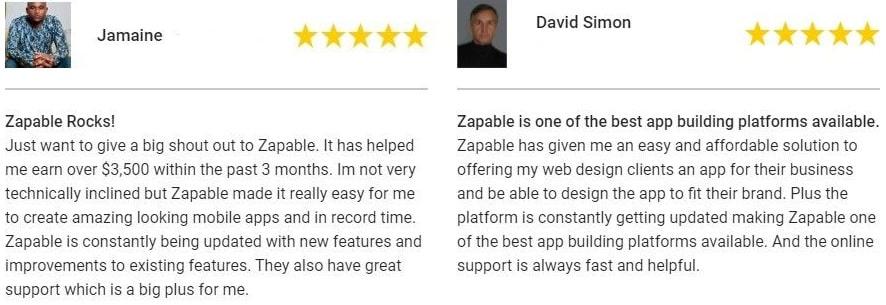 Zapable Agency Mobile App Testimonials