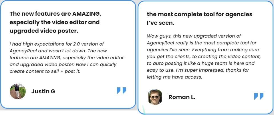 AgencyReel 2.0 Testimonial